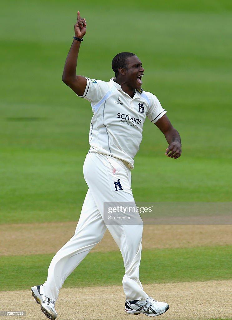 Warwickshire bowler Keith Barker celebrates after dismissing Durham Batsman Scott Borthwick during day three of the LV County Championship Division...