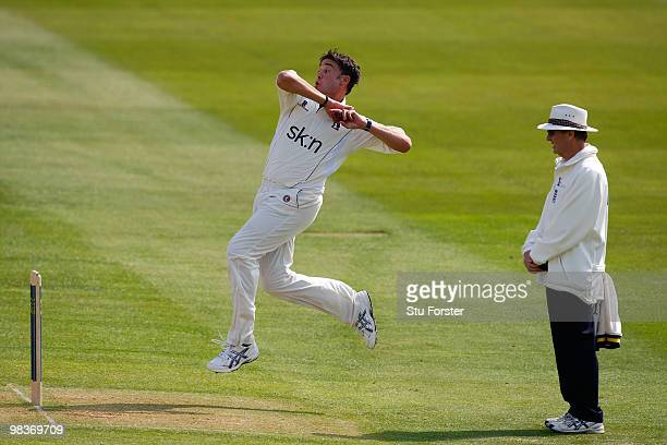Warwickshire bowler Neil Carter in action during the 2nd day of the Division One LV County Championship match between Warwickshire and Yorkshire at...