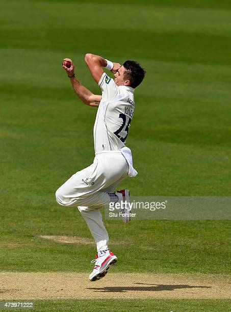Warwickshire bowler Richard Jones in action during day three of the LV County Championship Division One match between Warwickshire and Durham at...