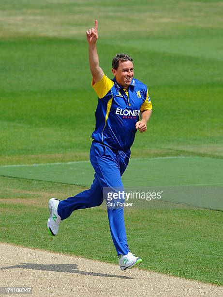 Warwickshire bowler Rikki Clarke celebrates after dismissing Richard Levi during the Friends Life T20 match between Warwickshire Bears and...