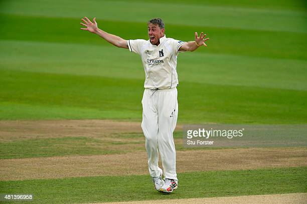 Warwickshire bowler Rikki Clarke celebrates after dismissing Somerset batsman Michael Bates during day three of the LV County Championship Division...