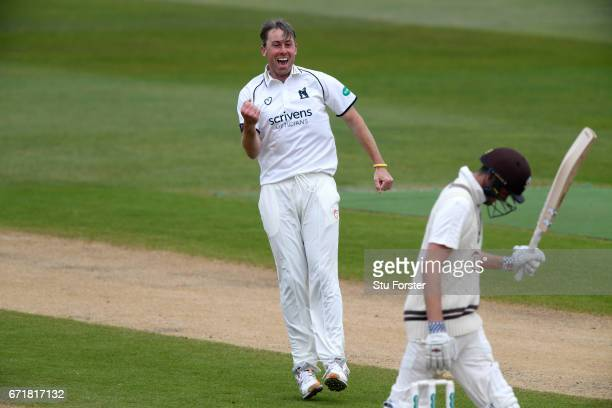 Warwickshire bowler Rikki Clarke celebrates after dismissing Surrey batsman Dominic Sibley on day three of the Specsavers County Championship...