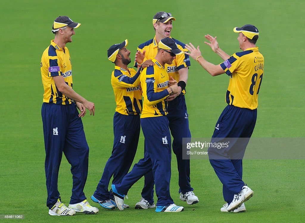 Warwickshire fielder Laurie Evans is congratulated by team mates after taking a spectacular catch to dismiss Kent batsman Darren Stevens during the...
