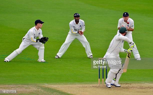 Warwickshire slip fielder Rikki Clarke takes the catch to dismiss Worcestershire batsman Phillip Hughes during day one of the LV County Championship...