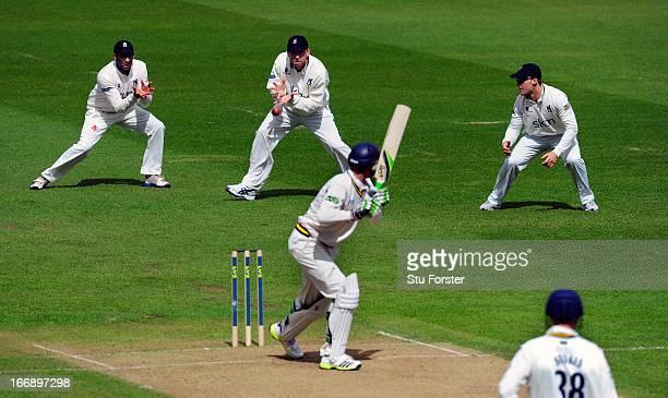 Warwickshire slip fielder Rikki Clarke takes the catch to dismiss Durham batsman Keaton Jennings during day two of the LV County Championship...