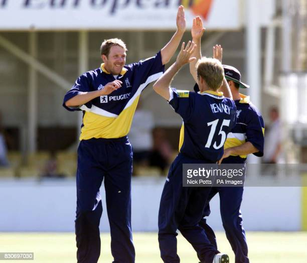 Warwickshire's Alan Richardson celebrates with Trevor Penney after taking the wicket of Yorkshire's Richard Blakey during Norwich Union League...
