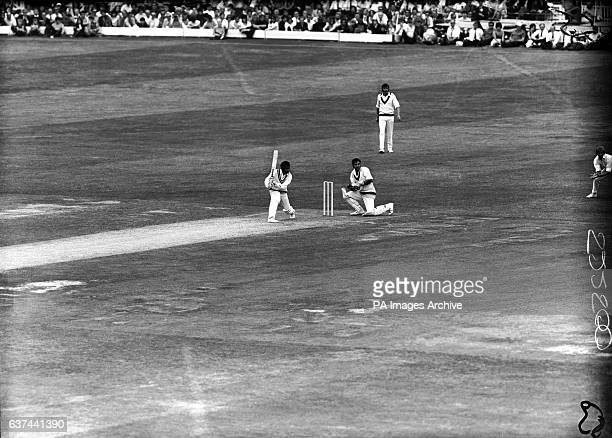 Warwickshire's Alvin Kallicharran plays the ball square watched by Lancashire wicketkeeper Farokh Engineer