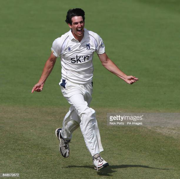 Warwickshire's bowler Chris Wright celebrates taking the wicket of Worcestershire's Alan Richardson to win the LV County Championship during the...