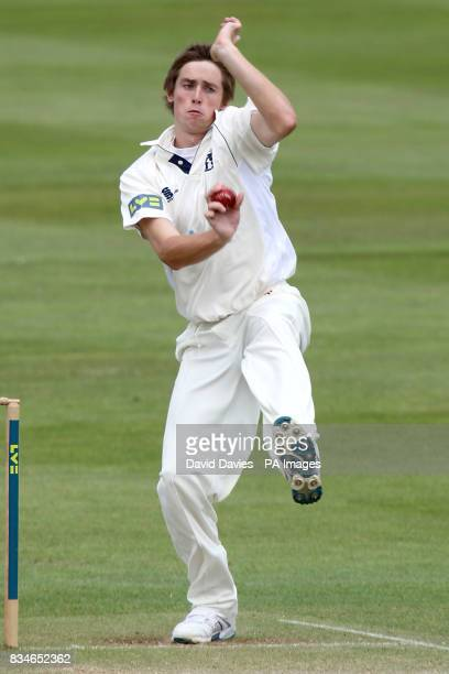 Warwickshire's Chris Woakes bowls against Gloucestershire during the LV County Championship Division Two match at Edgbaston Birmmingham
