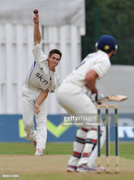 Warwickshire's Chris Woakes bowls to Lancashire's Stephen Moore during the LV County Championship match at Liverpool Cricket Club Liverpool