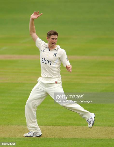 Warwickshire's Chris Woakes unsuccessfully appeals for the wicket of Somerset's Marcus Trescothick during the LV= County Championship Division One...