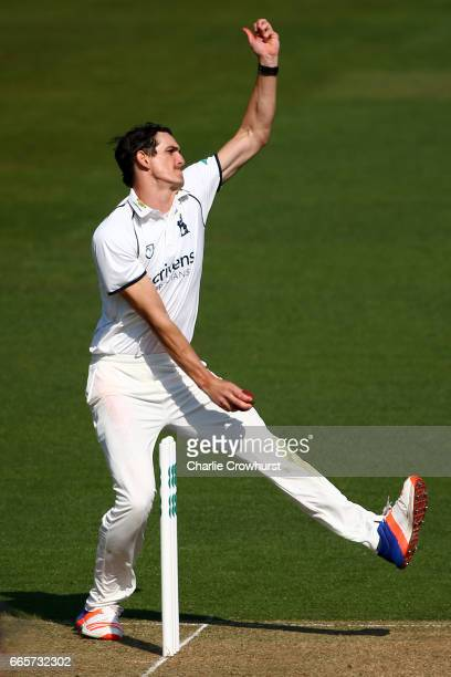 Warwickshire's Chris Wright bowls during the Specsavers County Championship Division One match between Surrey and Warwickshire at The Kia Oval on...