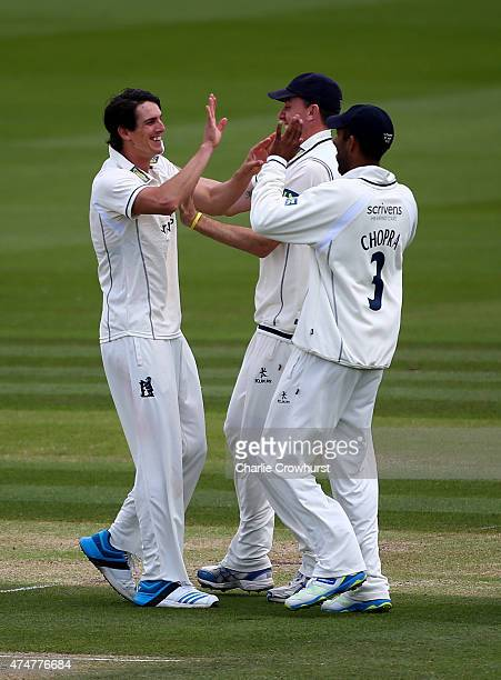 Warwickshire's Chris Wright celebrates after taking the wicket of Sussex's Harry Finch during day three of the LV County Championship match between...