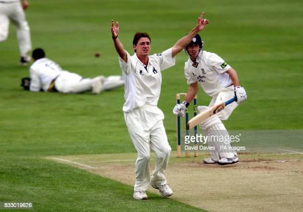 Warwickshire's Dale Steyn appeals unsuccessfully for LBW against Durham's Bill Smith during the Liverpool Victoria County Championship Division One...