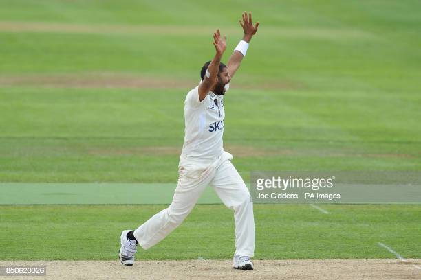 Warwickshire's Jeetan Patel appeals for the wicket of Middlesex's Dawid Malan during the LV= County Championship Division One match at Edbaston...