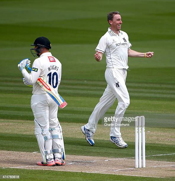 Warwickshire's Rikki Clarke celebrates after taking the wicket of Sussex's Luke Wright during day three of the LV County Championship match between...