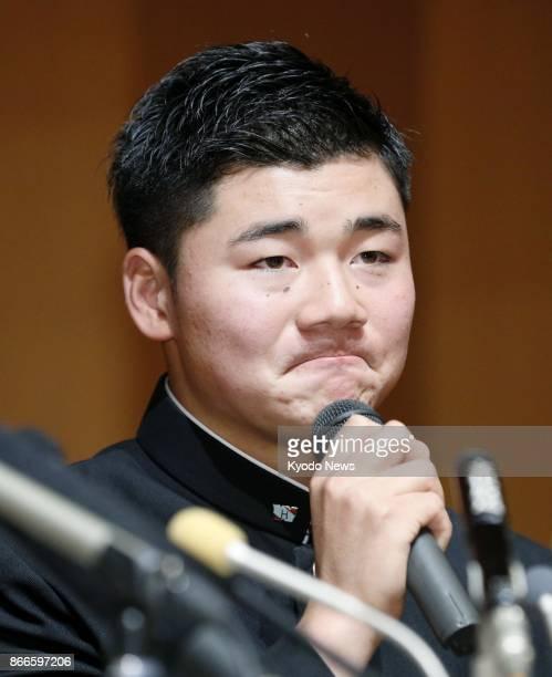 Waseda Jitsugyo High School slugger Kotaro Kiyomiya holds a press conference in Kokubunji Tokyo on Oct 26 2017 after being selected by the Pacific...