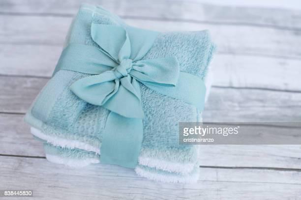 Wash basin towels in blue tones