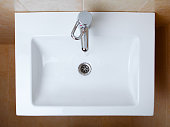 wash sink in a bathroom, top view