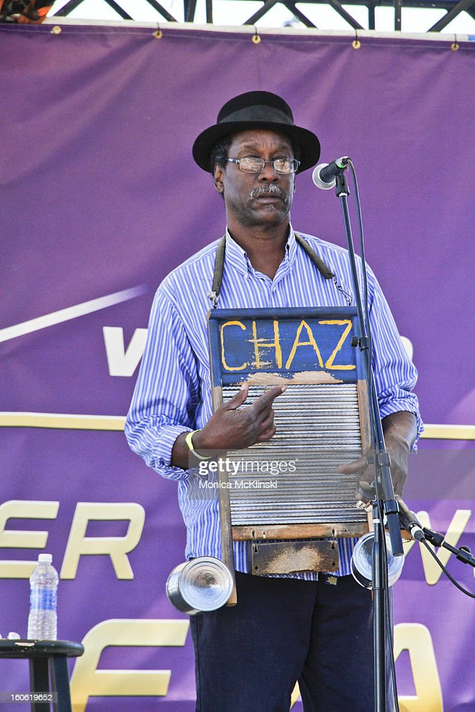 Washboard Chaz Leary performs during the Verizon Super Bowl Boulevard at Woldenberg Park on February 3, 2013 in New Orleans, Louisiana.