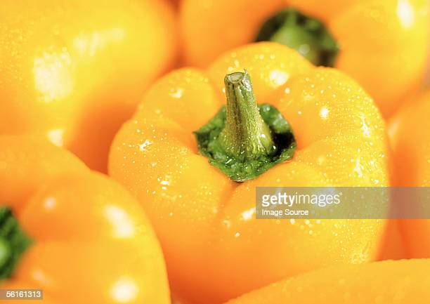 Washed yellow peppers