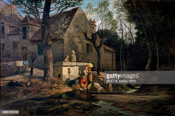 Washerwomen in Bougival 18641870 painting by Guido Carmignani oil on canvas 63x96 cm