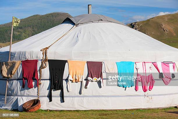 Washing drying on Ger, Orkhon Valley