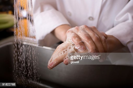 Washing hands in a sink