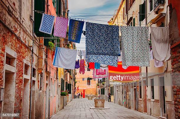 Washing hanging across street, Venice, Italy
