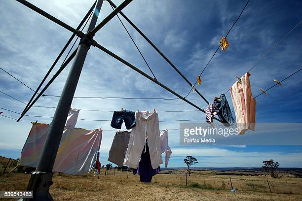 Washing hangs on a clothesline in Crookwell