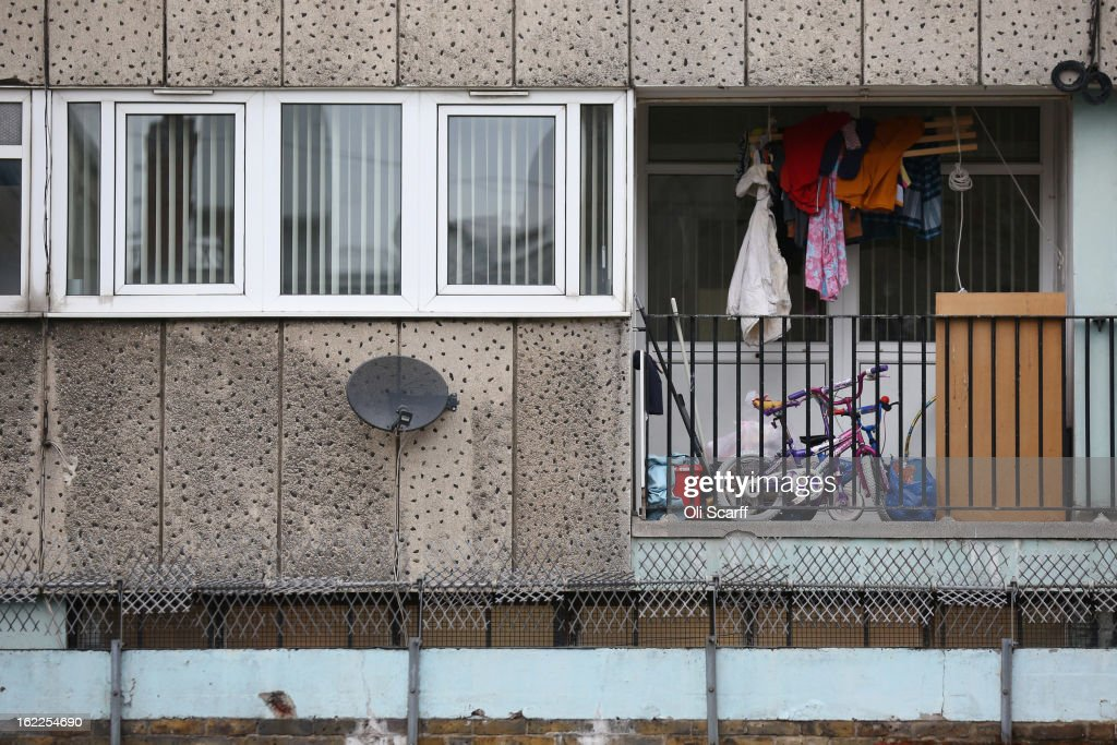 Washing hangs out to dry above Children's bikes on the balcony of a residential development in the London borough of Tower Hamlets on February 21, 2013 in London, England. A recent study has shown that 42 per cent of children in Tower Hamlets live in poverty, making it the worst area of the UK for child poverty. The research was carried out by the 'Campaign to End Child Poverty' who have produced a map describing levels of child poverty across the UK.