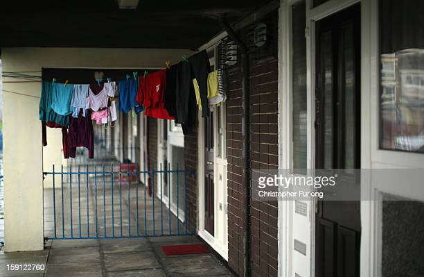 Washing hangs to dry outside a home on the Falinge Estate which has been surveyed as the most deprived area in England for a fifth year in a row on...