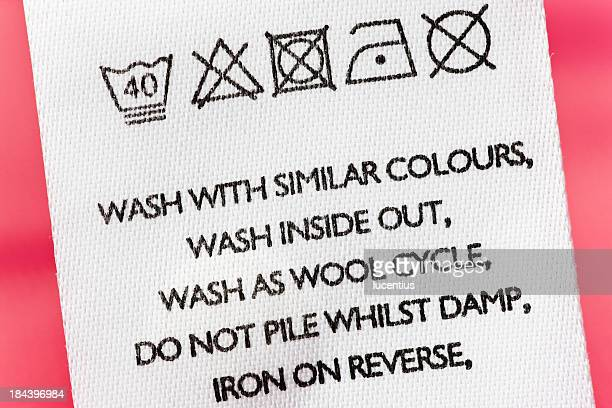 Washing instructions on clothes label
