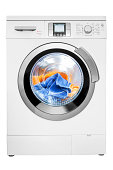Washing machine, isolated on white, clipping path