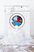 washing machine leaking , in laundry room