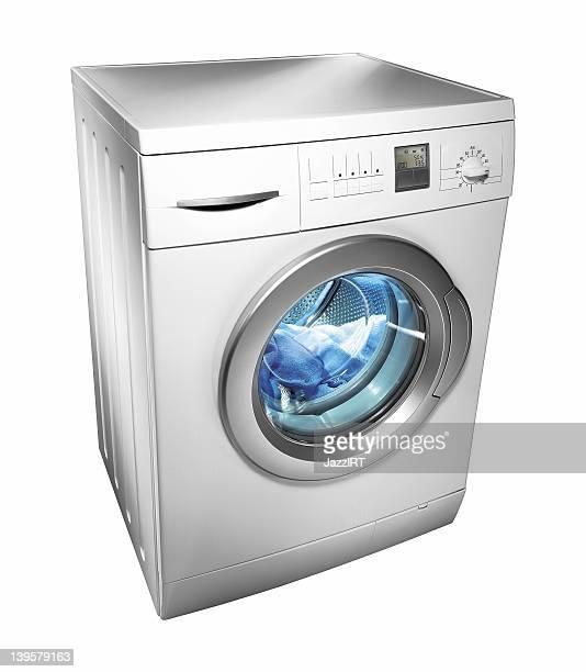 Máquina de lavar roupa (isolada com Traçado de Recorte sobre fundo branco)