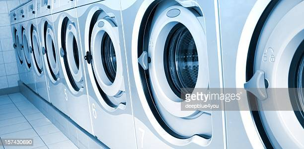 Washing machine row in a public center