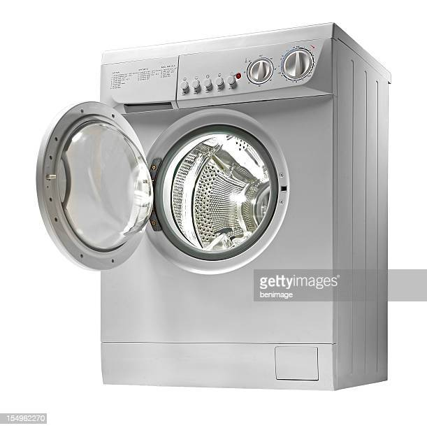 Washing machine with door open