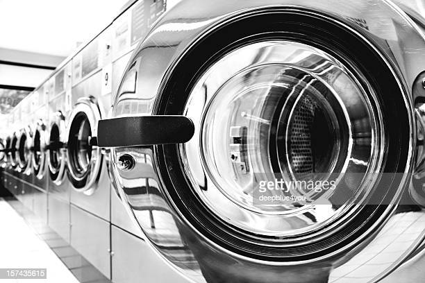 Washing machines - clothes washer's door in a public launderette