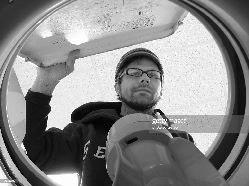 Washing machine's point of view : Stock Photo