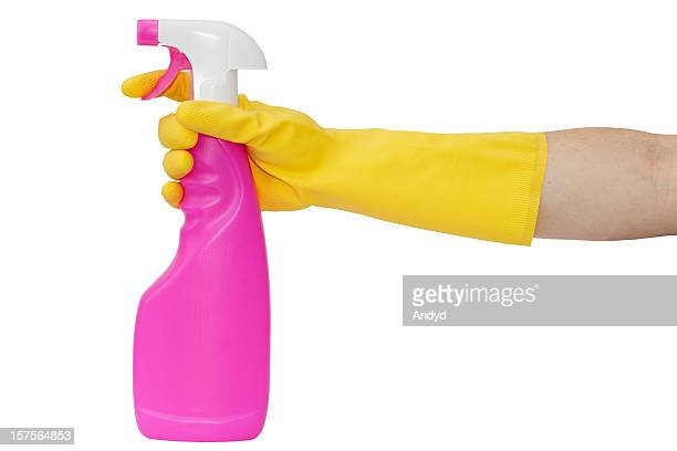 Washing Up Glove Holding a Spray Bottle