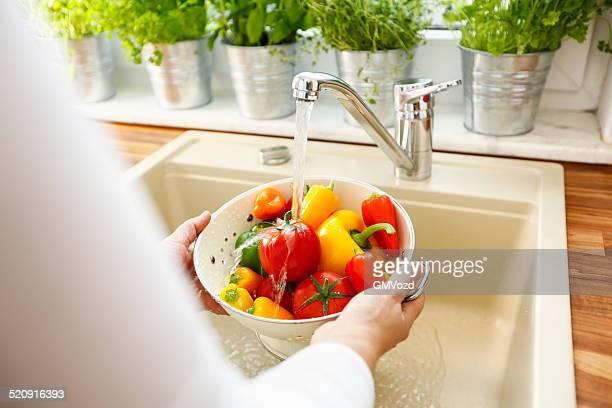 洗浄野菜の水