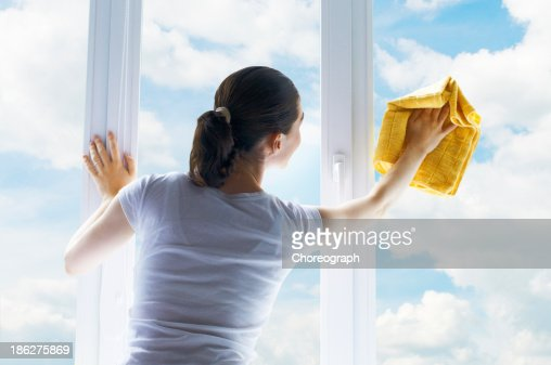 washing windows : Stock Photo