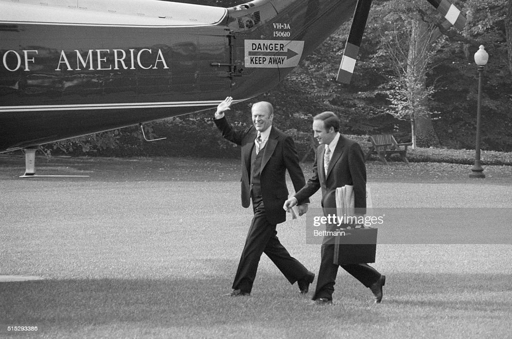 Accompanied by his new chiefofstaff Richard Cheney Pres Ford departs from the White House for a oneday trip to Massachusetts where he will address...