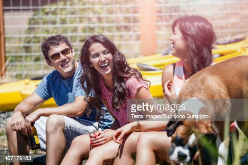 USA, Washington, Bellingham, Portrait of three young people laughing : Stock Photo