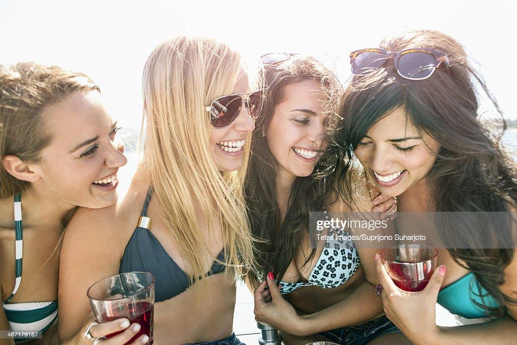 USA, Washington, Bellingham, Portrait of young women having fun : Stock Photo