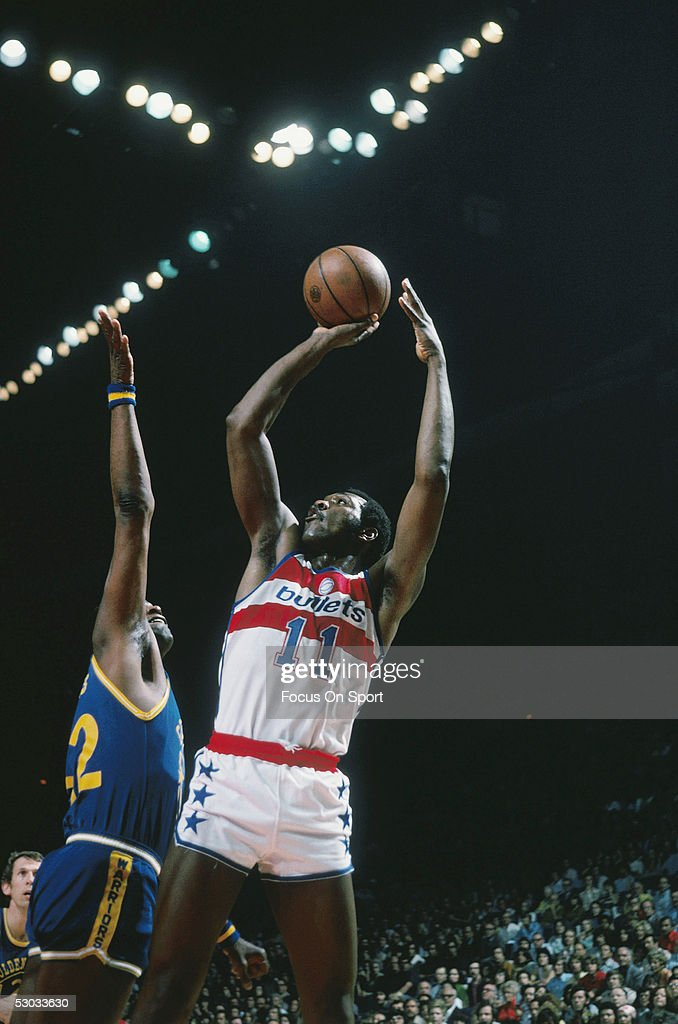 Washington Bullets' forward Elvin Hayes makes a jumpshot during a game against the Milwaukee Bucks at Capital Centre circa the 1970's in Washington...
