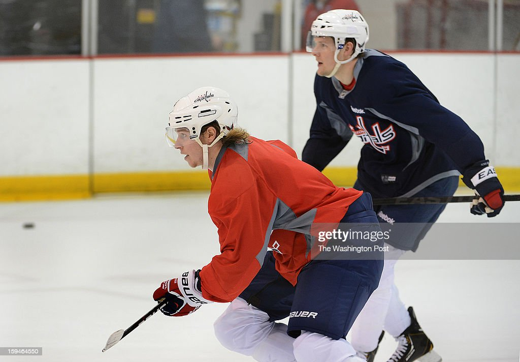 Washington Capitals center Nicklas Backstrom (19) during the Washington Capitals' first official practice of the season on Sunday, January 13, 2013.