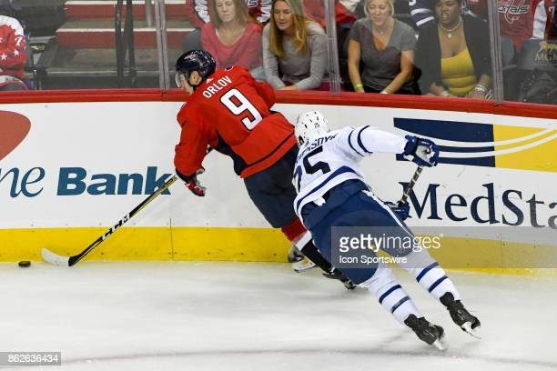 Washington Capitals defenseman Dmitry Orlov skates in the third period against Toronto Maple Leafs left wing James van Riemsdyk on October 17 at the...