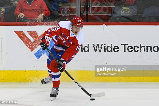 Washington Capitals defenseman Nate Schmidt skates in the third period against the Columbus Blue Jackets on January 5 at the Verizon Center in...